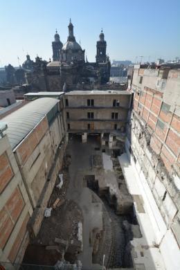 Blick auf die Ausgrabung des Tempels des Ehecatl-Quetzalcoatl © Foto: Raúl Barrera Rodríguez