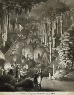 Emel'jan Korneev, Die Grotte von Antiparos (La Grotte d'Antiparos; prise ce 13 Juillet 1804.), 1804, lavierte Federzeichnung über Bleistift © Deutsches Archäologisches Institut, Berlin Foto: Dietmar Katz