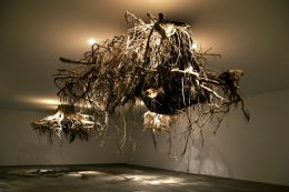 Giuseppe Licari, Humus, 2015, Ausstellungsansicht Kunstenfestival Watou, Poperinge (B) Baumwurzeln, Deckenkonstruktion, Halogenlampen, Foto: Giuseppe Licari