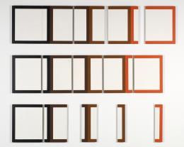 """Dóra Maurer, """"5 aus 4"""", 1978, Acryl auf Spanplatten, 180 x 208,5 x 2,8 cm, Sammlung Dieter und Gertraud Bogner im mumok, seit 2007 © Dóra Maurer"""