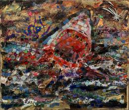 Emre Baykal: Troubled Water: Mixed Media Mosaik auf Kartontafel, 2019 (Bild: zVg)