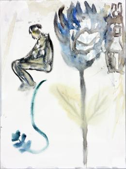 Martin Disler, Ohne Titel, 1991, Aquarell, 30x40 cm, Sammlung Fondation pour les oeuvres d'art du Centre scolaire et sportif des Deux-Thielles, Le Landeron (c) The Estate of Martin Disler