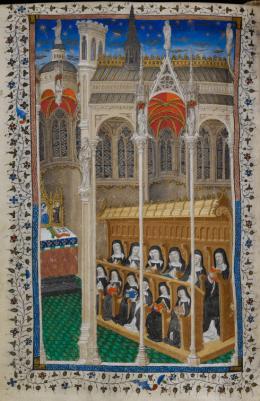 Nonnen im Chorgestühl, Detail aus: Psalter Heinrichs VI., 1400–1430 The British Library, London, Cotton MS Domitian A XVII., fol. 177v © The British Library Board
