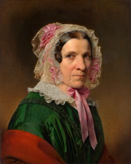 """Franz Eybl, """"Porträt einer älteren Dame mit Spitzenhaube und rosa Bändern"""", 1849  © Belvedere, Vienna"""