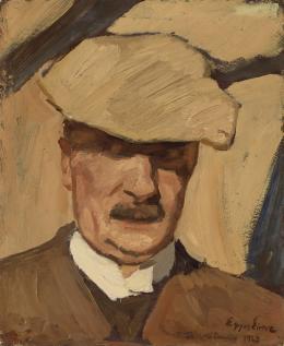 Albin Egger-Lienz, Selbstbildnis mit Sportmütze, 1923; 40,3 x 33,5 cm, Öl auf Pappe  © Tiroler Landesmuseen