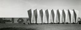 Foto der Trauerhalle Westhausen Günter Bock und Otto Herbert Hajek: Jupp Falke, ca. 1963