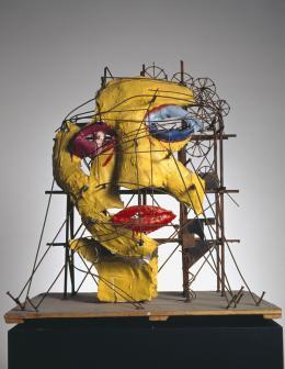 Jean Tinguely (1925-1991), Niki de Saint Phalle (1930-2002), Le Cyclop – La Tête, 1970 Eisendraht und –blech, Gipsgaze, Farbe, 82 x 77 x 47 cm, Museum Tinguely, Basel. Ein Kulturengagement von Roche. Donation Niki de Saint Phalle © Niki Charitable Art Foundation / 2021, ProLitteris, Zurich Foto: Christian Baur
