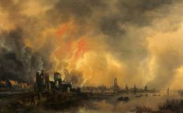 Feuersbrunst in einem Schloss, Aert van der Neer, nach 1650, Arp Museum Bahnhof Rolandseck / Sammlung Rau für Unicef, Foto: Mick Vincenz
