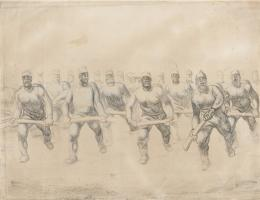 """Albin Egger-Lienz, Entwurf zur Lithografie """"1915"""", 1915; 68,5 x 84,5 cm, Schwarze Kreide und Pastell  © Tiroler Landesmuseen"""