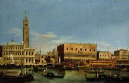 Venezianischer Meister, Bucintoro und Blick auf den Molo am Himmelfahrtsfest , Vedute X, 1743/44, Öl auf Leinwand, 47,5 x 73 cm, Museum Langmatt