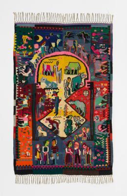 Ernst Ludwig Kirchner/Lise Guyer: Chaiselonguedecke, Alpaufzug, 1926, Museum für Gestaltung Zürich, Kunstgewerbesammlung, Foto: U. Romito und I. Suta, Museum für Gestaltung Zürich/ZHdK