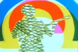 Rainbow Dance , 1935, (Filmstills) 5', 35 mm, Farbe (Gasparcolor), Tonfilm; Produktion: Basil Wright, Alberto Cavalcanti von der GPO-Filmabteilung für die Post Office Savings Bank; Kamera: Frank Jones, Musik: Tonfilmy's Wife von Rico's Creole Band, Tonfilmschnitt: Jack Ellitt, Tanz: Rupert Doone; Premiere: 1936, Venedig Filmfestival © Courtesy Courtesy Len Lye Foundation und British Postal Museum and Archive Digitale Version von Material, das von Ngā Taonga Sound & Vision konserviert und zur Verfügung geste