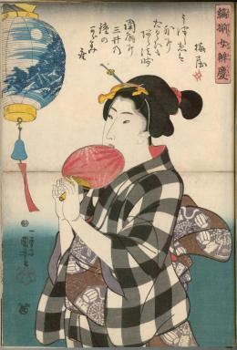 """Utagawa Kuniyoshi, """"Benkei auf der Brücke"""" aus der Serie Sammlung von gestreiften weiblichen Benkeis aus den Freudenvierteln, 1843/44 © MAK/Georg Mayer"""