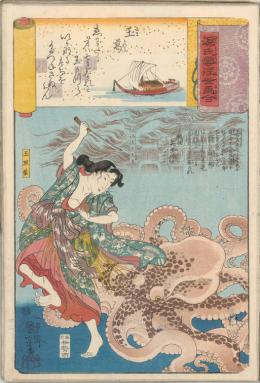 """Utagawa Kuniyoshi, """"Tamakazura, die Taucherin holt die Perlen zurück"""" aus der Serie Vergleich von Darstellungen aus dem Genji-Roman und der fließenden Welt, 1843–1847 © MAK/Georg Mayer"""