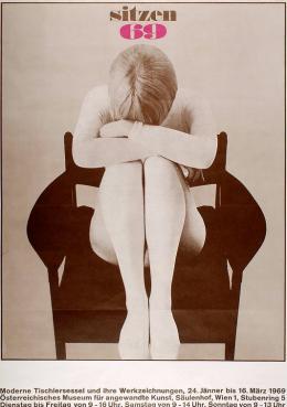 Christoph Schartelmüller, Poster der Ausstellung Sitzen 69, Wien, 1969 Papier, Flachdruck (Ausführung: Gottlieb Gistel & Cie) © MAK