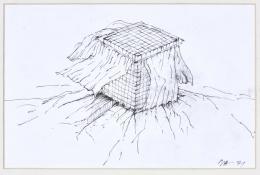 Raimund Abraham, House with Curtains. 10 Houses, 1971 Tusche auf Papier Privatsammlung © MAK/Georg Mayer