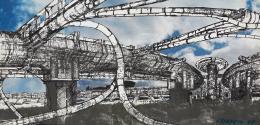 Raimund Abraham, Megabridge, 1964 Collage Privatsammlung © MAK/Georg Mayer