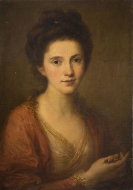 Angelika Kauffmann, Selbstbildnis mit Zeichengriffel, um 1768, Öl auf Leinwand, 60,8 x 43,4 cm, Privatsammlung, © Privatsammlung / Foto: AKRP, Justin Piperger