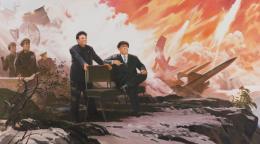 Pak Yong Chol, The Missiles, 1994—2004, Öl auf Leinwand, 152 x 272 cm, Foto: Sigg Collection, Mauensee © The artist