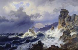 Andreas Achenbach, Ein Seesturm an der norwegischen Küste, 1837, Öl auf Leinwand, 179 x 272 cm Städel Museum, Frankfurt am Main © Städel Museum–ARTOTHEK