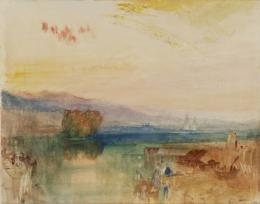 Joseph Mallord William Turner, Geneva, the Jura Mountains and Isle Rousseau, Sunset, 1841, Aquarell und Bleistift auf Papier, 228 x 293 cm, Accepted by the nation as part of the Turner Bequest 1856, © Tate, London, 2018