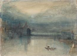 Joseph Mallord William Turner, Lucerne by Moonlight: Sample Study, ca.1842/43, Aquarell auf Papier, 23.5 x 32.5 cm, Accepted by the nation as part of the Turner Bequest 1856, © Tate, London, 2018