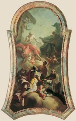 Die Heilige Dreifaltigkeit mit vier Pestheiligen (ehemaliges Altarbild der Kapelle von Schloss Thurnmühle in Schwechat), um 1760, Wien, Belvedere
