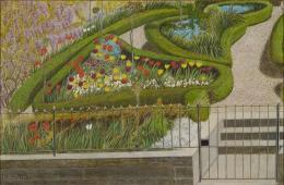 """Adolf Dietrich, """"Seidelbast im Garten des Künstlers (Mein Gärtchen in der Märzsonne)"""", datiert 1935, Öl auf Pavatex, 51 x 49 cm, Kunstmuseum Thurgau"""
