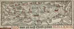 Straubkalender Warenverkehr auf dem Bodensee, Kalenderbild des St.Galler Buchdruckers Leonhard Straub von 1579  © HVM
