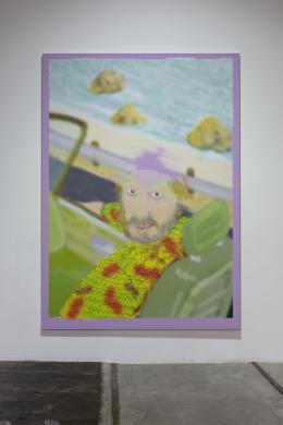Michael Williams, Mauve Dog, 2020, Tintenstrahldruck auf Leinwand, 297 × 214 cm, © Michael Williams. Courtesy der Künstler und Galerie Eva Presenhuber, Zürich und New York, Foto: Stefan Rohner