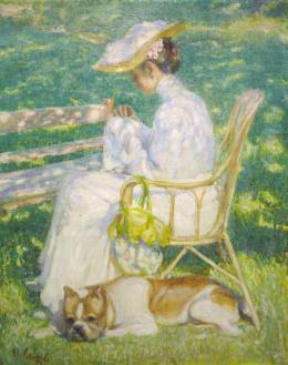 Max von Esterle, Dame mit Hund (Frau Kuhn), 1903, Öl auf Leinwand  © TLM