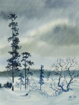 Baumreihe in flacher schneebedeckter Landschaft, 1943, Aquarell auf Papier Salzburg Museum © Hanns und Werner Otte, Salzburg
