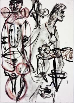 Martin Disler, Ohne Titel, 1991, Gouache, 140x100 cm, Sammlung Fondation pour les oeuvres d'art du Centre scolaire et sportif des Deux-Thielles, Le Landeron (c) The Estate of Martin Disler