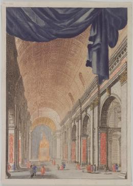 Peter Schenck: Das Innere der Peterskirche in Rom, spätes 17. Jh./frühes 18. Jh. Farbstich; Von der Heydt-Museum Wuppertal