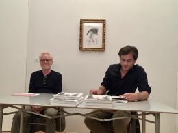 Tone Fink und Max Lang bei der Buchpräsentation in der Galerie Hrobsky, Wien (© MPS)