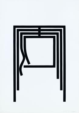René Acht, Offenes Haus, 1970, Scherenschnitt, 100 x 70 cm, Kunstmuseum Singen, Foto: Bernhard Strauss, Freiburg, © VG Bild-Kunst, Bonn 2021