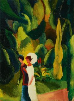 August Macke, Frauen im Park (mit weißem Schirm), 1913 © Renate und Friedrich Johenning Stiftung Foto: Leopold Museum, Wien/Manfred Thumberger