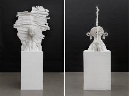 Gelatin,  Ohne Titel, 2019,  Synthetic plaster, styrofoam  225 x 70 x 100 cm  Courtesy Galerie Meyer Kainer, photos: Marcel Koehler