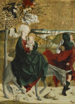 Meister von Mondsee, Flucht nach Ägypten, von der Predella des sog. Mondseer Altars, vor 1499  Foto: Johannes Stoll © Belvedere, Wien
