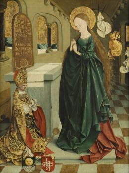 Meister von Mondsee, Maria als Tempeljungfrau im Ährenkleid; von der Predella des sog. Mondseer Altars, vor 1499  Foto: Johannes Stoll © Belvedere, Wien