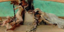 """Gustav Klimt (1862–1918), """"Altar des Dionysos"""", 1886, Entwurf für das Deckengemälde im südlichen Stiegenhaus (Giebelfeld) des Burgtheaters, (Detail) Öl auf Leinwand, 32 x 158 cm © Dorotheum, 2020."""
