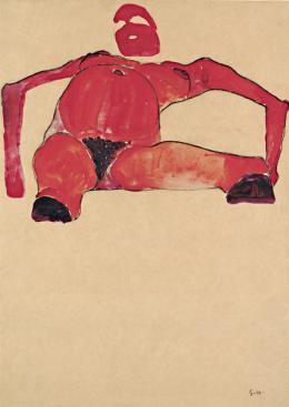 Liegende nackte Schwangere, 1910, Schwarze Kreide, Gouache auf Papier, 43,4 × 30,9 cm © Leopold Museum, Wien, Foto: Leopold Museum, Wien/Manfred Thumberger