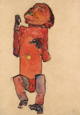 Egon Schiele, Liegendes Neugeborenes, 1910, Schwarze Kreide, Gouache auf Papier, 44,5 × 31,2 cm © Leopold Museum, Wien, Foto: Leopold Museum, Wien/Manfred Thumberger