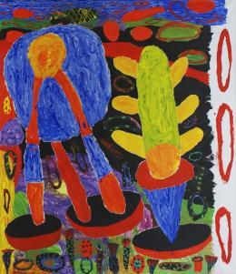 """Peter Pongratz, """"Blick aus meinem Fenster auf den nächtlichen Garten"""", 2017, Acryl auf Papier auf Leinwand, 150 x 130 cm © Galerie Welz"""