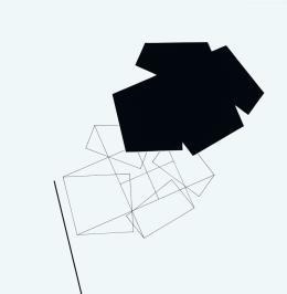 René Acht, KKFF mit Schatten, 1996, Scherenschnitt, Tusche, 60 x 60 cm, Kunstmuseum Singen, Foto: Bernhard Strauss, Freiburg, © VG Bild-Kunst, Bonn 2021