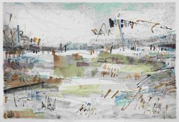 Abstrahierte Landschaft, 1970, Aquarell, Federzeichnung auf Büttenpapier, Salzburg Museum © Hanns und Werner Otte, Salzburg