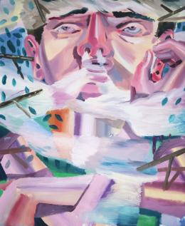 Ákos Ezer, Cloud breathing, 2019 Öl auf Leinwand, 150 x 130 cm