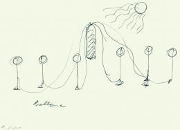 Roman Signer, Skizze zu einer Installation mit Ballonen, 1984  © Julius Bär Kunstsammlung