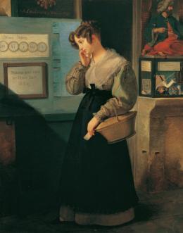Peter Fendi, Mädchen vor dem Lotteriegewölbe, 1829 © Belvedere, Wien