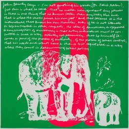 Corita Kent Q elephant's q, 1968  Siebdruck auf Papier, 586 x 582 mm,  Courtesy Corita Art Center, Immaculate Heart Community, Los Angeles Foto: Arthur Evans